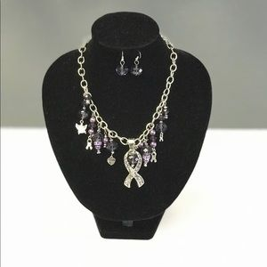 Jewelry - Purple Ribbon Necklace Set